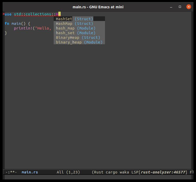 use std::collections::HashMap;を補完しているところ